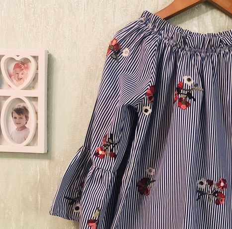 Модная блуза блузка рубашка ассиметричная с вышивкой