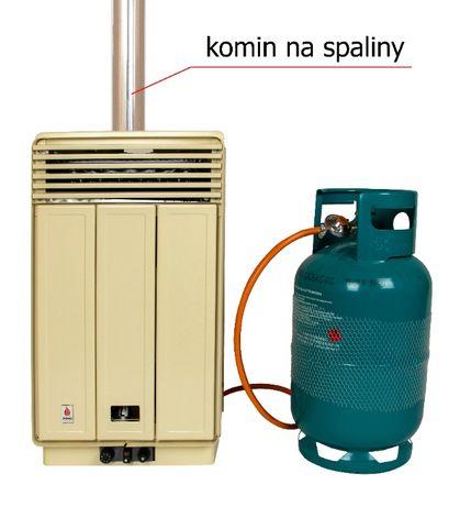 Piecyk gazowy na butle 3 kW konwektor z wylotem spalin i termostatem