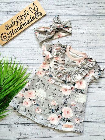 Sukienka krótki rekaw + opaska PIN UP - HANDMADE dla dziecka Babystyle