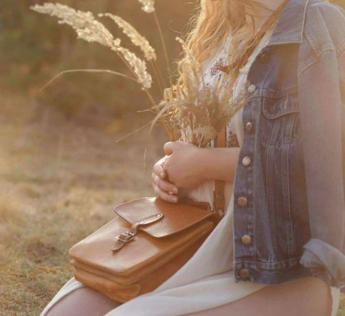 Brązowa skórzana torebka damska w stylu boho vintage