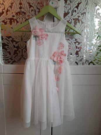 Нарядное платье на 6-7 лет фатин белое H&M