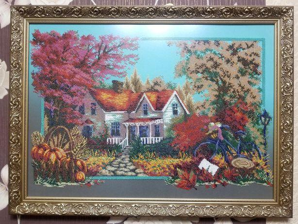 """Картина из бисера """"Золотая Осень"""" 77х57см."""