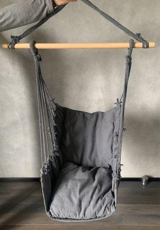 Fotel wiszacy grafit boho