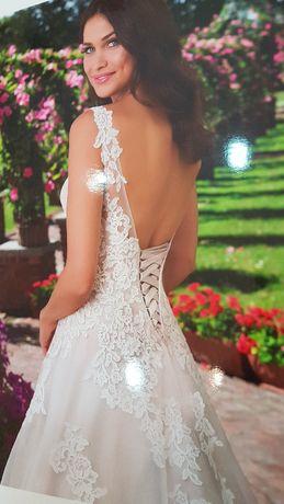 Piękna suknia ślubna, welon, kurtka, pokrowiec - wyprana - rozmiar 40