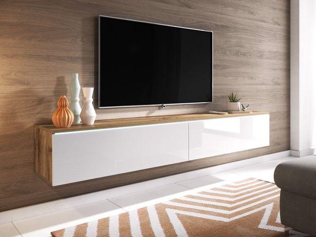 Szafka pod telewizor, stolik RTV, długi 180 cm - WOTAN/BIAŁY