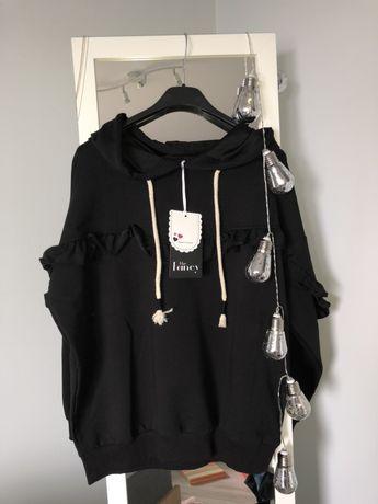 Nowa bluza czarna falbanka butik