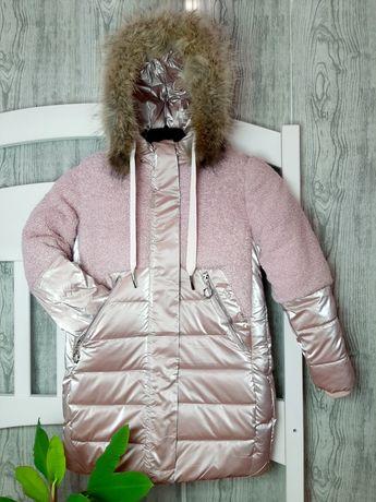 Зимнее пальто для девочки, на холодную зиму. 122см, 134см.