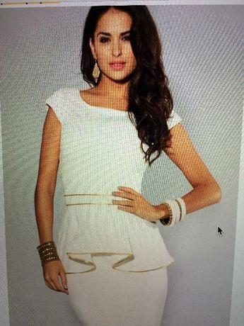 Красивое нарядное платье с баской - окантовка золото