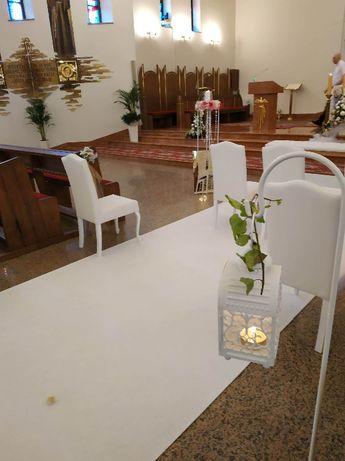 Dekoracja kościoła, sali weselnej. Ślub jak z bajki.