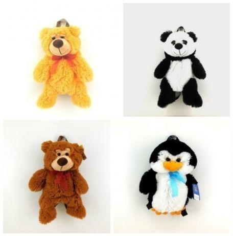 Детский Рюкзак игрушка мягкая мишка, пингвин, панда 40 см.