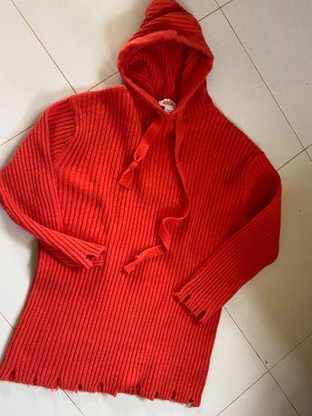 KONTATTO sweterek pomarańczowy postrzępiony kaptur wiosna