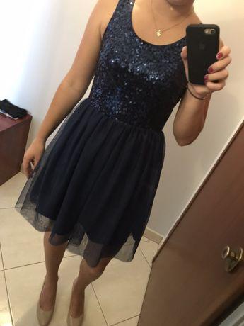 Sukienka na imprezę wesele studniówka sylwester elegancka granatowa