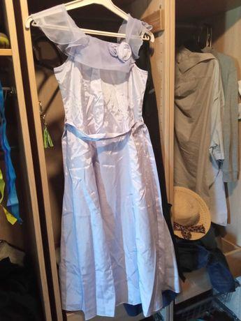 Sukienka dziewczęca letnia, blady fiolet, 140