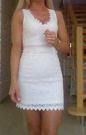 Sukienka biała,mini,koronka,prosta