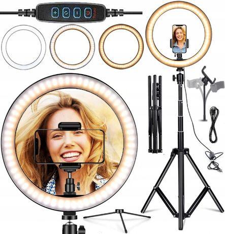 Nowa Lampa pierścieniowa LED 30CM 2m statyw selfi Wizaż 3 kolory