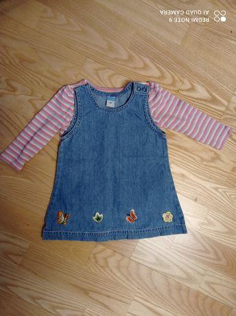 Zestaw bluzka z długim rękawem sukienka 80