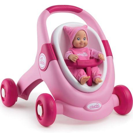 Smoby MiniKiss 3w1 Chodzik Pchacz Wózek Różowy 210205