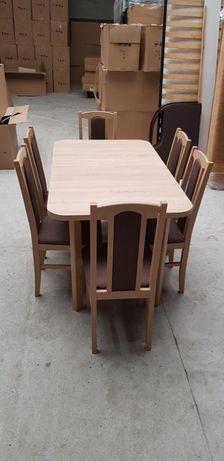 NoWE! Zestaw Stół + 6 krzeseł , orzech olcha sonoma biały , gratis tra