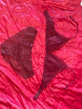 Бордовый комплект Victoria's Secret 75B 75A 34A/B бралет бюст топ