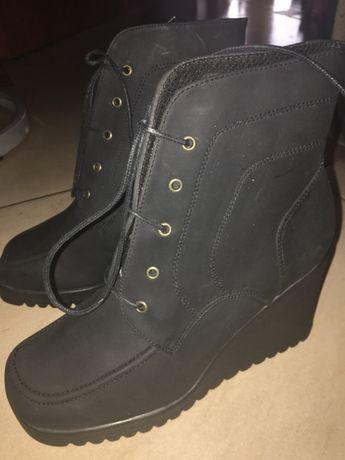 Nowe buty na koturnie botki 39 czarne