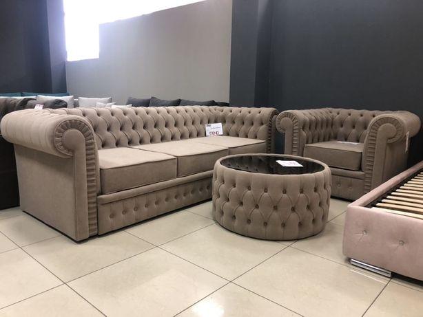 Комплект Честер «дельфин» ( диван раскладной, кресло, стол)