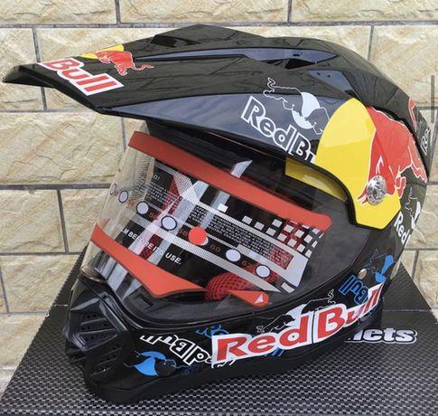 Kask z Szybką- RED BULL/FOX * Quad*Cross*ATV*Enduro* KTM/Honda/Yamaha