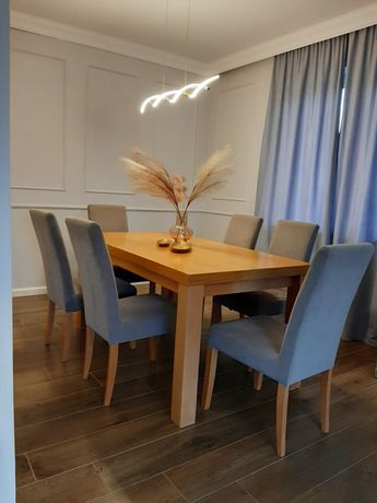 Stół i krzesła szare /6 krzeseł