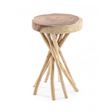 Mesa Apoio Red. Madeira Acacia Tronco Side Table - by OVO Home Design
