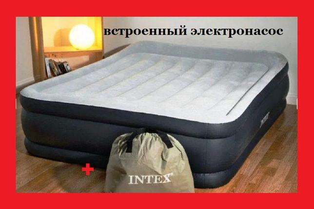 Надувная кровать двуспальная велюровая. Лiжко. матрас + встроенный нас