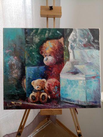 """Obraz olejny na płótnie """"Przyjaciele"""",60×50 cm, Adam Wajerczyk 2011"""