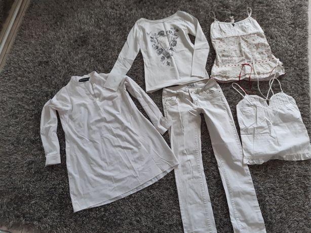 Zestaw ubrań white biały białe spodnie S 36 kobieta wiosna lato