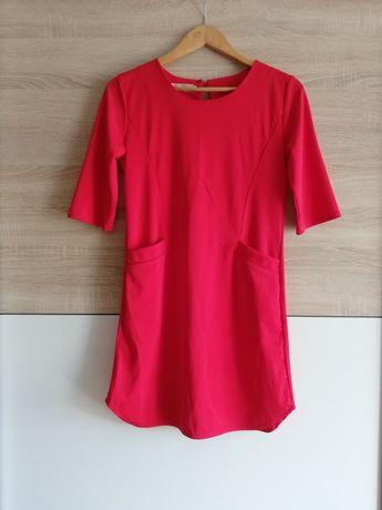 Sukienka czerwona z kieszeniami - GUMUXI 36
