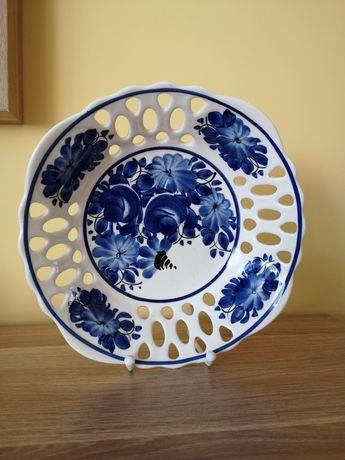 Stara miska patera ażur rękodzieło z porcelany