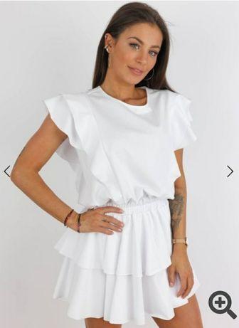 Sukienka biała falbana damska
