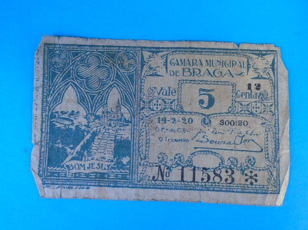 Nota-Cédula 5 Centavos Câmara Municipal Braga