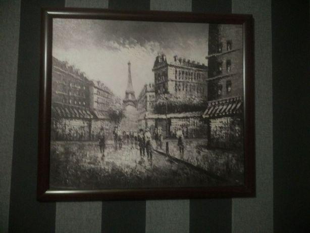 Картина Paris Street 1890S Эйфелева башня. 40x50 см в рамке