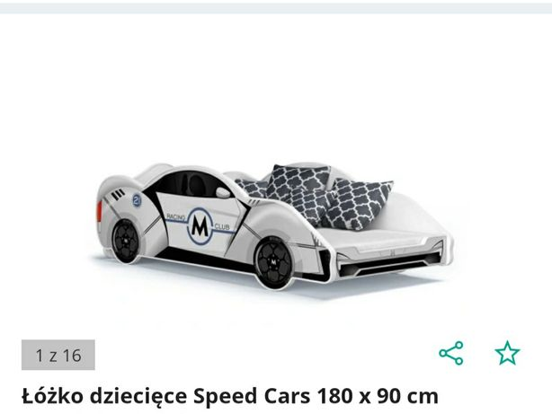 Łóżko dla chłopca auto 180x90