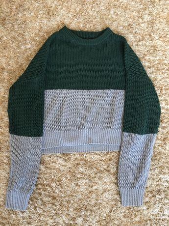 Zielono-Szary sweter Pull&Bear rozmiar S
