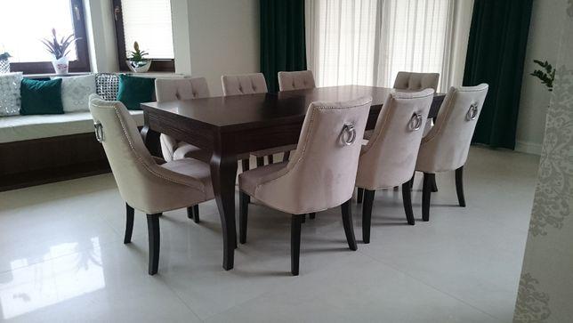 Zestaw stół, krzesła glamour nowoczesne tapicerowane z kołatką modne