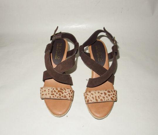 NUVO ecco skórzane sandały damskie na koturnie plecionka 35,5 36