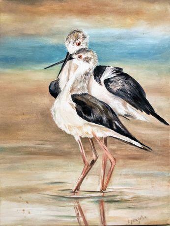 Картина маслом, птицы, пара птиц, интерьерная живопись