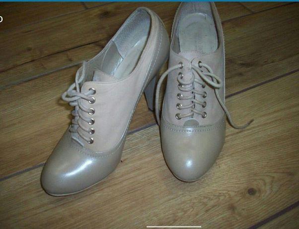 Туфлі шкіряні пудра