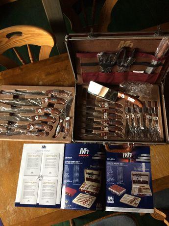 duży profesjonalny komplet noży w walizce