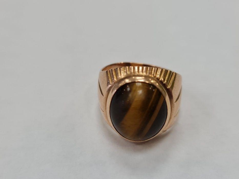Tygrysie Oko! Piękny złoty pierścionek/ Radzieckie 583/ 7.02 gr/ R10