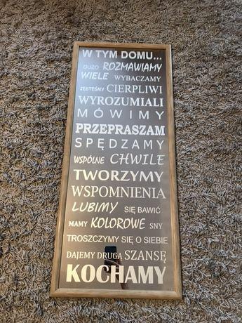 """Lustro 99x42 cm z piaskowanym napisem """" w tym domu"""""""