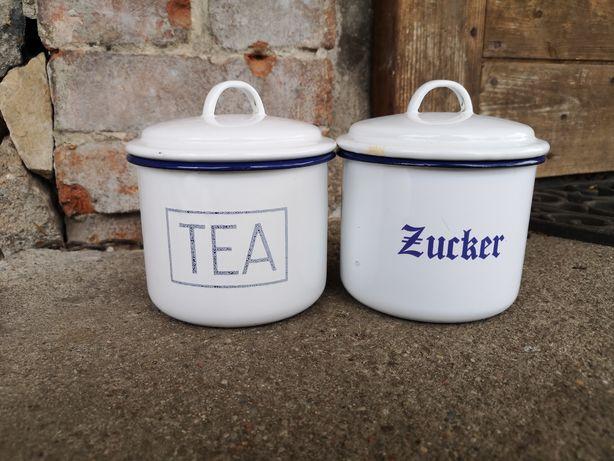 Stare emaliowane pojemniki na herbatę i cukier