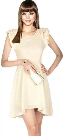 Платье бежевое шифон летнее выпускное нарядное не Zara Mango