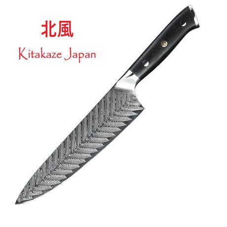 Czarny Nóż Japoński Szefa Kuchni NA PREZENT Stal Damascen