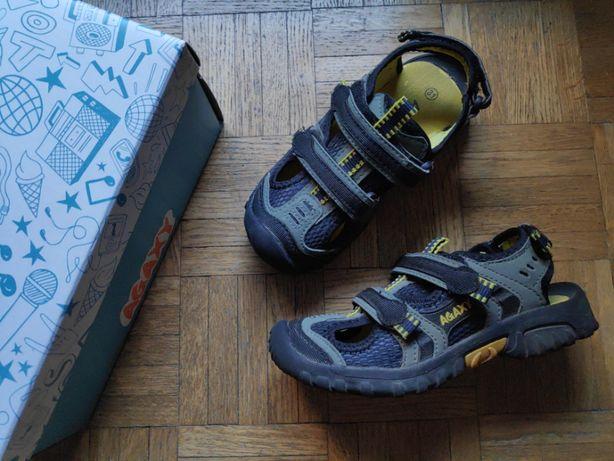 Sandałki z krytymi noskami Agaxy czarno-żółte, rozmiar 31