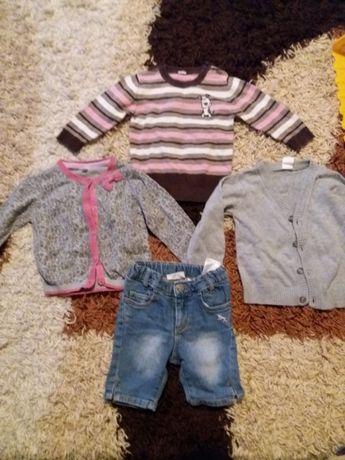 sweterki dla dziewczynki rozmiar 74-80 , spodenki do kolan 74